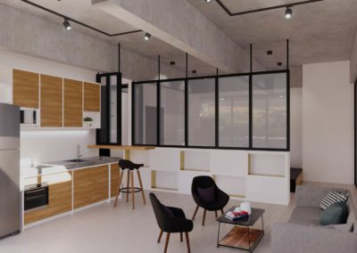 Open plan condo showing the dining area. Concept designed by Phuket Home Solutions