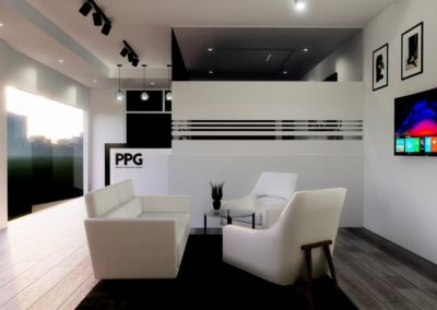 Seating area concept for open plan office, created by the design team at Phuket Home Solutions