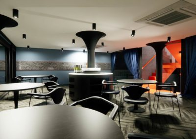 Open plan restaurant concept including table placement, entrances and lighting by Phuket Home Solutions