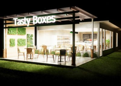 Tasty Boxes, Phuket - Night time visual concept of their new restaurant, designed by Phuket Home Solutions