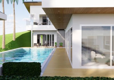 New Villa concept in Phuket including private pool and decking. Created by Phuket Home Solutions